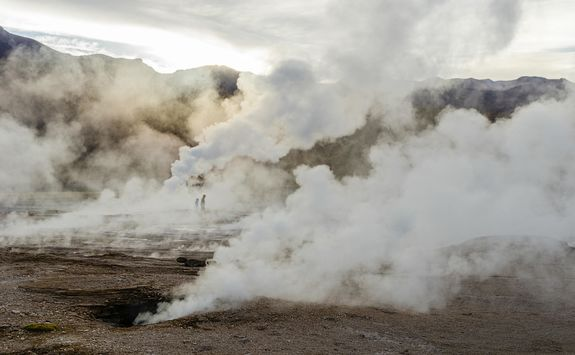 Sunrise at El Tatio geyser