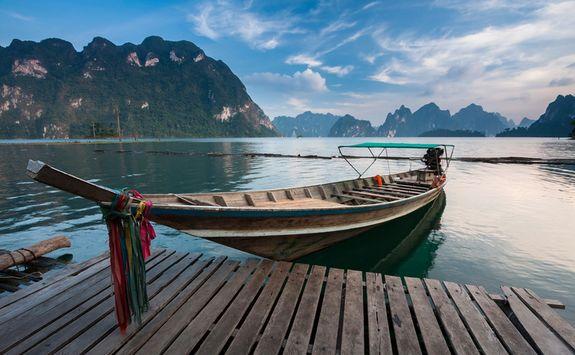 a long tail boat in Khao Sok