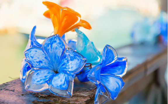 traditional flowers glass decorations in murano island near