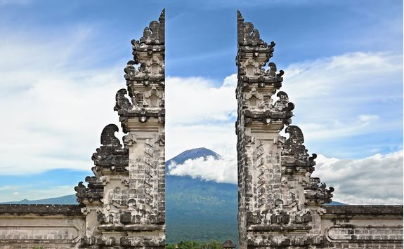 symbol bali hindu temple on agung volcano background