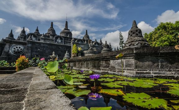 buddhist temple with water lily