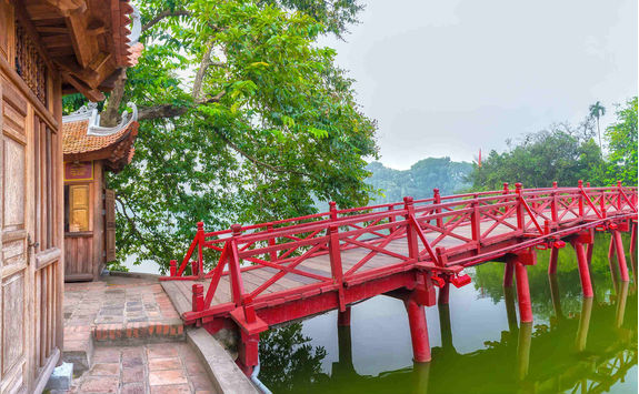 Huc bridge spanning the Ngoc Son temple