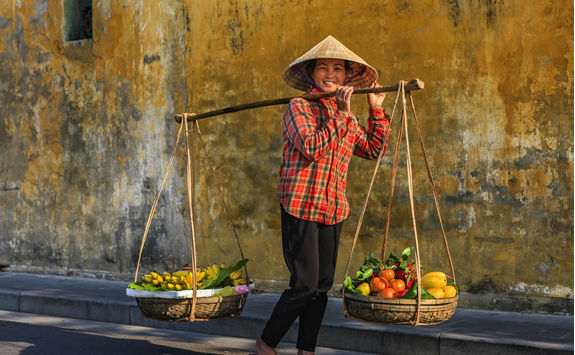 Vietnamese woman selling tropical fruits in old quarter