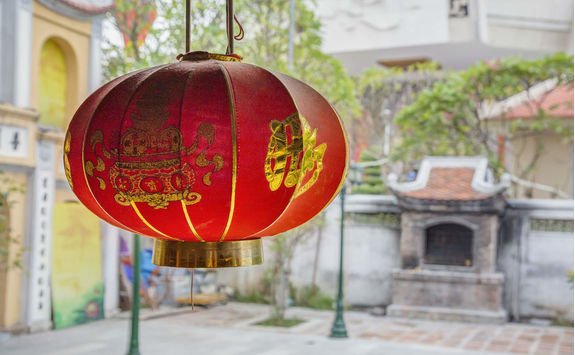 Red lantern in a garden in Hanoi