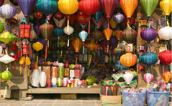 Silk lantern bazaar display in Hoi An