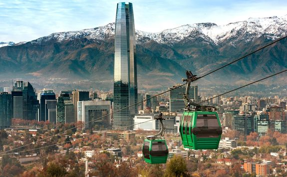 cable car in san cristobal hill overlooking a panoramic view of santiago