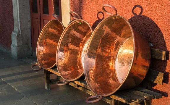 Large copper vessels in Santa Clara del Cobre