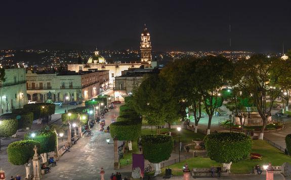 Morelia town square at night
