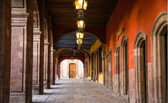 Portico off the main plaza in San Miguel de Allende