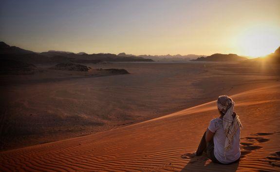 sunset in the wadi run desert