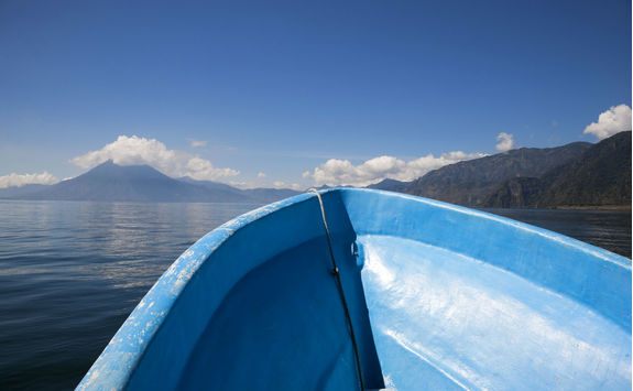 blue boat on the  lake