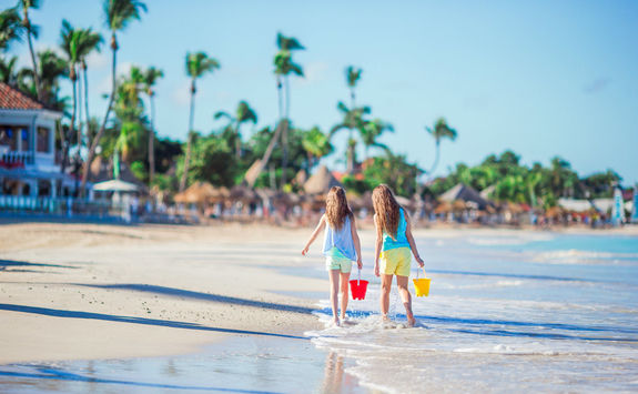 Two girls on a beach in Antigua