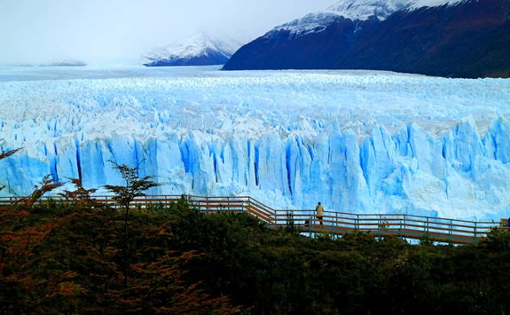 view of perito moreno glacier with the viewing balcony