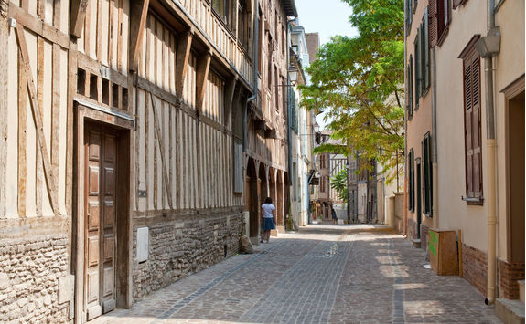 Street with half timbered houses in Troyes