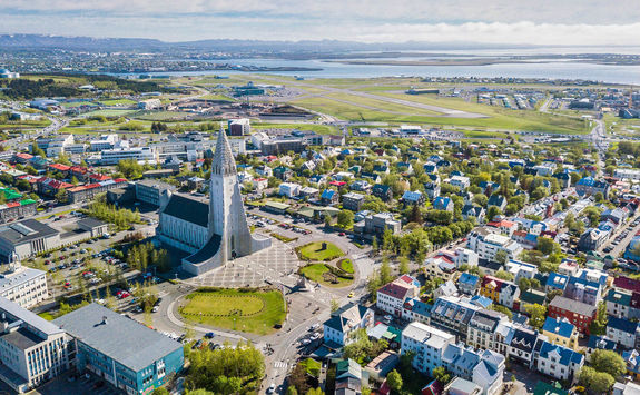 Reykjavik city scape from the top with Hallgrimskirkja church