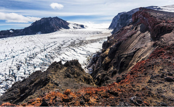 Volcanic landscape and the glacier of Kverkfjoll