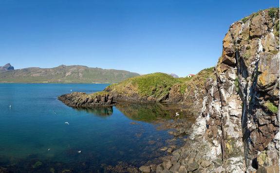Bird breeding rock in Borgarfjordur fjord