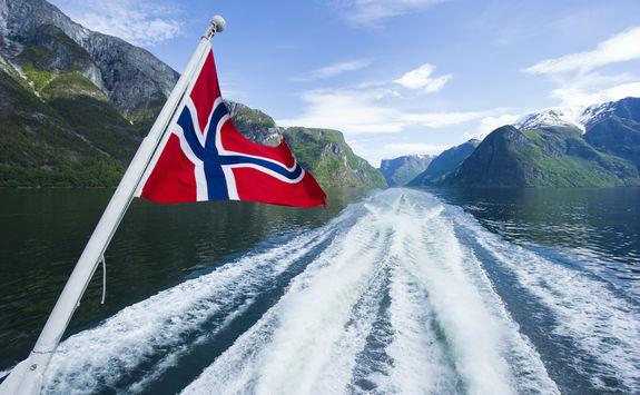 Norwegian flag on a cruise