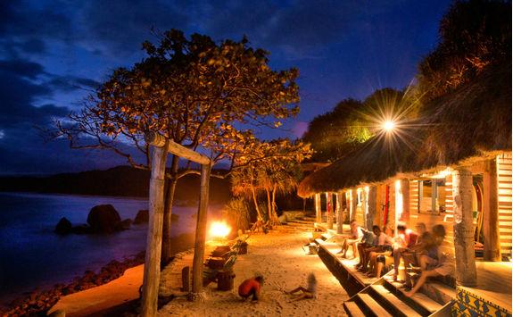 Boathouse at nighttime