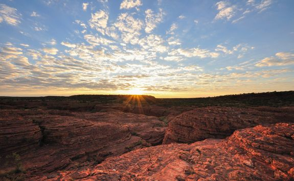 Kings canyon with sunset