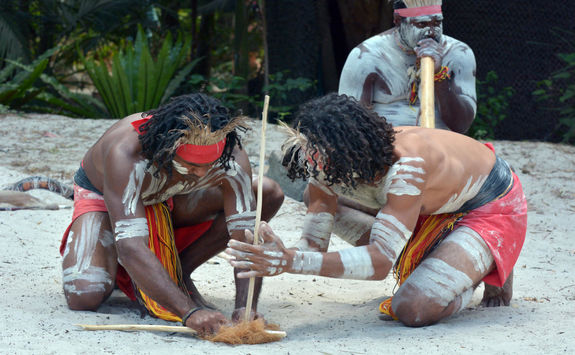 Aboriginals making fire