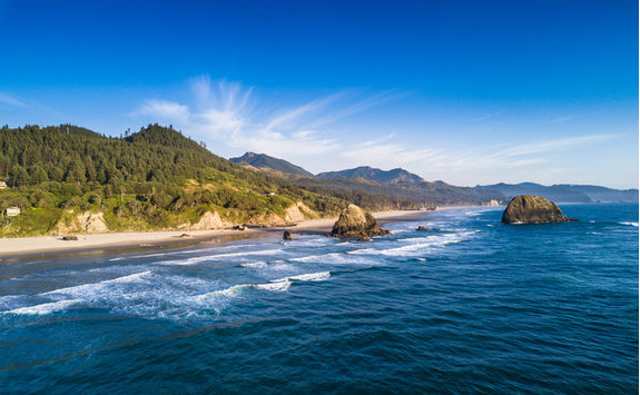 Aerial view of Cannon Beach