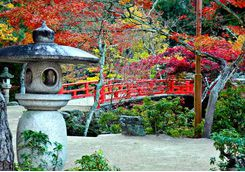 Bridge and garden on the island of Miyajima