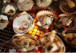 Seafood on the grill at Ago Bay