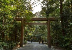 Torii gate entrance to Ise Shrine