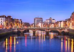 Dublin skyline at dusk