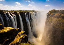 Victoria Falls with fog