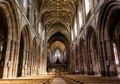 Inside Chester's cathedral