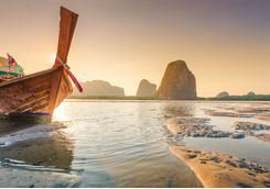 a boat in Krabi during sunset