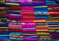 Colourful fabrics market