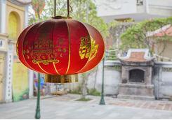 Red lantern in a garden in Hanoi
