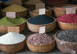 Various type of cereal grains at Dong Xuan Market