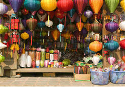 Silk lantern bazaar display in Hoi An