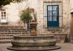 Small courtyard plaza fountain