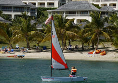 Young girl sailing in Antigua