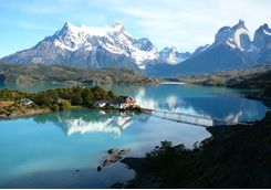 torres del paine and lake