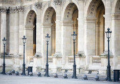 Building pillars and lights at the Louvre