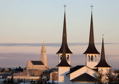 Sunrise over Reykjavik's Lutheran churches