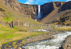 The Hengifoss waterfall