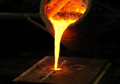 Pouring Melted Bronze