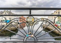 Love lock on a bridge in Alesund