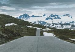 Endless road in Norwegian nature