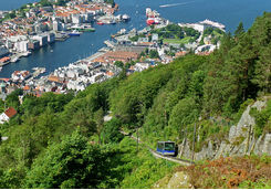 Bergen's view and Floibanen heading to the top of Mount Floyen
