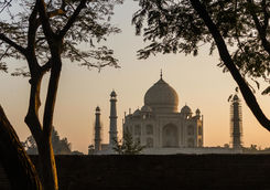 Taj Mahal during Sunset from Mehtab Bagh