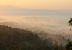 View of the mist around Borobudur
