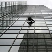 Abseiling from a skyscraper
